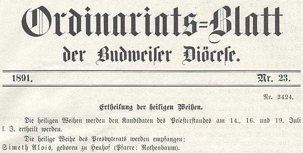 V ordinariátním listu je uveden v čele těch, kdo přijali v roce 1891 kněžské svěcení