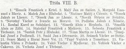 Figuruje tu mezi žáky závěrečné třídy c.k. českého gymnázia v Českých Budějovicích roku 1887