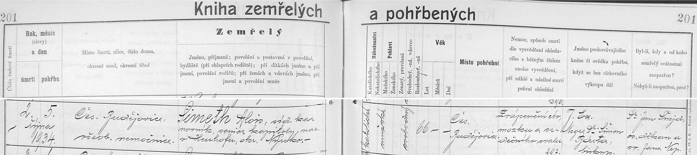 Záznam českobudějovické úmrtní matriky o jeho skonu ve zdejší nemocnici