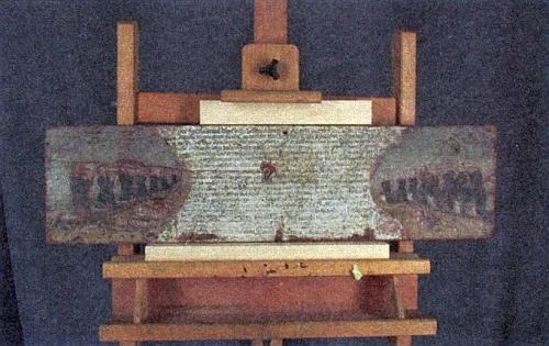 Dřevěná deska, jejímž je Andreas Siml původcem, před restaurováním