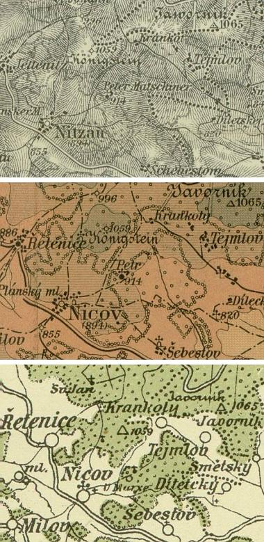 """Dvorec na výřezech starých map Šumavy , dostupných i v mapové příloze Kohoutího kříže: na vojenské mapě zroku 1894 je označen jménem """"Peter Matschiner"""", na Bělohlavově mapě z počátku 20. století najdeme u kóty 914 jen označení """"Petr"""", na Vilímkově z roku 1931 pak vidíme název U Marxe"""