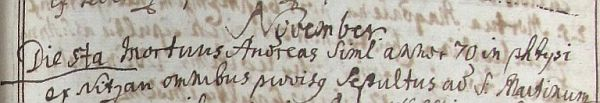 Záznam kašperskohorské matriky o jeho úmrtí