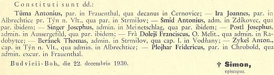 O jeho ustanovení farářem v Malontech na stránkách diecézního věstníku