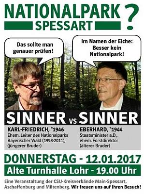 """Sinner proti Sinnerovi"" - pozvánka na diskusi Karla-Friedricha Sinnera sbratrem Eberhardem (*1944)"