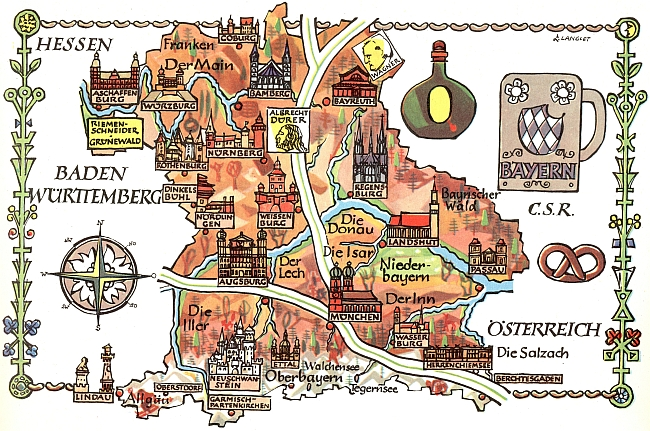 Jeho rodný Aschaffenburg na kreslené mapě svobodného spolkového státu Bavorsko nahoře zcela vlevo