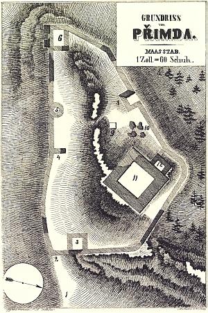 Půdorys hradu Přimda na rytině podle předlohy Franze Alexandra Hebera