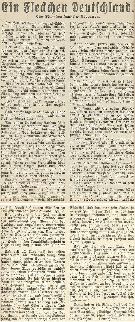 """Jeho text """"Kousek Německa"""" vyšel za války v budějovickém kalendáři listu Dorfbote na rok 1942"""