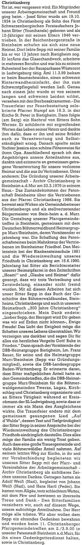 Jeho nekrolog, který napsal do krajanského měsíčníku Karl Halletz