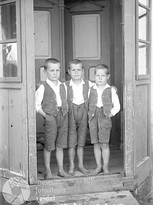 Tři synové Franze Sittera v Borových Ladech čp. 41, jak je zachytil 9. června 1922 Josef Seidel