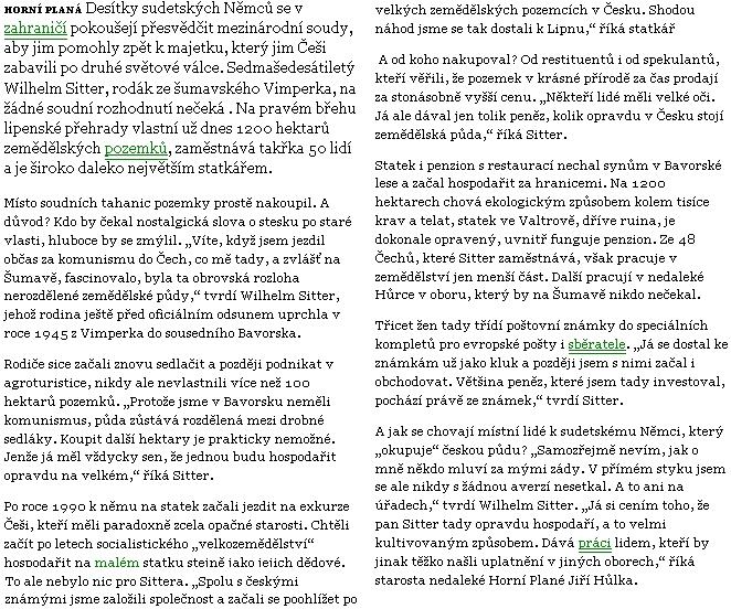 Text článku Marka Kerlese v Lidových novinách
