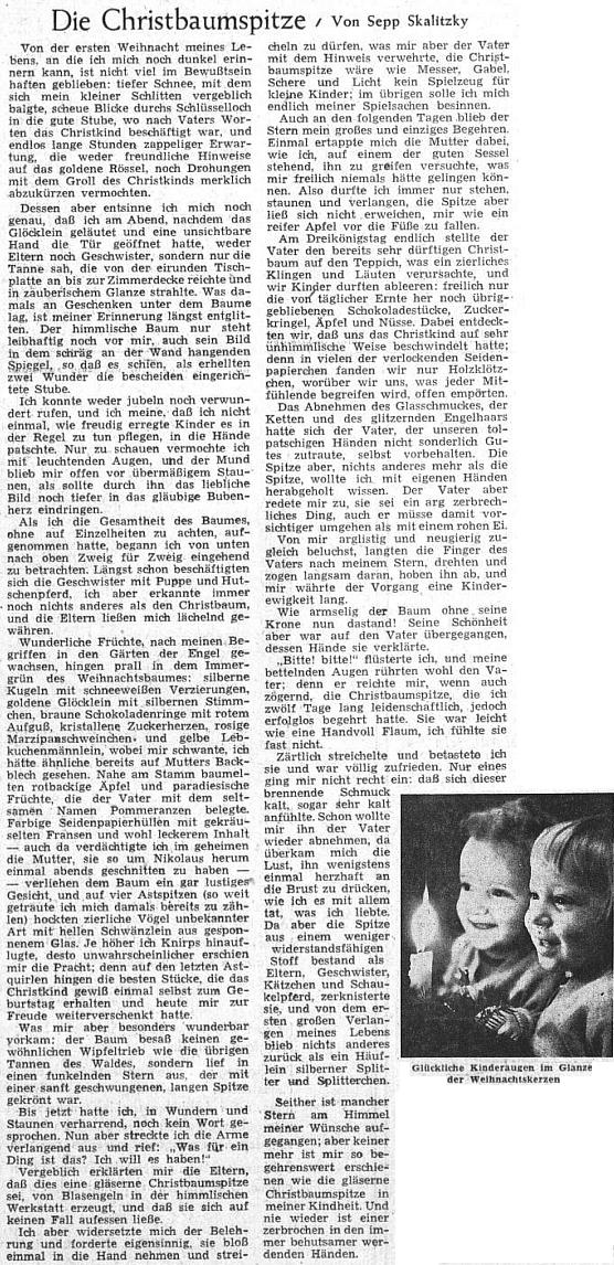 Dětská vámoční vzpomínka ze svátečního čísla Sudetendeutsche Zeitung roku 1955