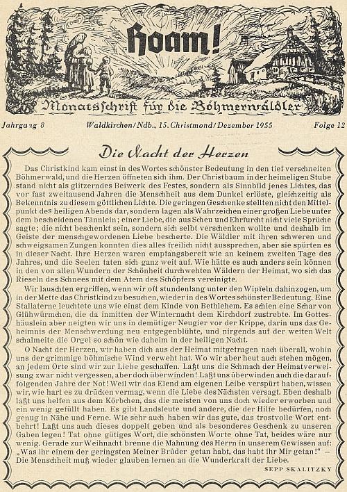 """Pod titulem """"Noc srdcí"""" uveřejnil ve vánočním čísle krajanského měsíčníku roku 1955 tento text"""