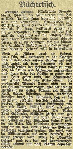 """Tady nikdo jiný nežli Sepp Skalitzky doporučuje na stránkách českobudějovického německého listu Zirwickem vydávaný avedený ilustrovaný měsíčník """"Deutsche Heimat"""" s podtitulem """"Listy domovské věrnosti a domovské lásky pro župy Chebsko, Šumava, Český les a Tepelsko"""""""