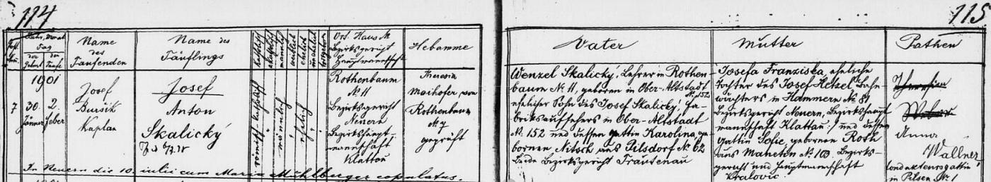 Podle záznamu křestní matriky zaniklé dnes farní obce Červené Dřevo se tu v čp. 11 narodil dne 30. ledna roku 1901 a byl ve zdejším kostele Panny Marie Bolestné 2. února i pokřtěn kaplanem Josefem Buršíkem na jméno Josef Anton Skalický - otec novorozencův Wenzel Skalický byl zdejším učitelem, narodil se však v Horním (Hořejším) Starém Městě (Oberaltstadt), dnes místní části města Trutnova (Trautenau), jako syn továrního dozorce Josefa Skalického aKaroliny, roz. Nitschové z Pilníkova (Pilsdorf), okr. Trutnov, novorozencova matka Josefa Franziska, roz. Hetzelová, byla dcerou železničního hlídače v Hamrech (Hammern) Josefa Hetzela a jeho ženy Sofie, roz. Rothové zManětína (Manetin), kmotřičkou dítěte byla pak Anna Wallnerová, choť konduktérova z Plzně - pozdější přípis nás ještě zpravuje o svatbě Josefa Skalického v Nýrsku (Neuern) s Marií Mühlbergerovou (o té víme, že byla zKašperských Hor  /Bergreichenstein/) 10. června roku, který není uveden