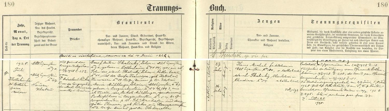 Záznam o jeho svatbě z 10. července roku 1928 v železnorudské oddací matrice, kde je jako ženich psán ještě Josef Anton Skalický - nevěsta Maria, učitelka v Železné Rudě jako on, narozená v Kašperských Horách 6. února roku 1892, byla dcerou četnického závodčího v Kašperských Horách Jakoba Mühlbergera a jeho choti Theresie, roz. Rükerové z Heřmanových Sejfů (dnes Rudník v Krkonoších, okr. Trutnov), oddávajícím knězem byl Adalbert Rüker, vikář Kongregace Nejsvětější svátosti z Brna, jako svědci jsou pak uvedeni ženichův a nevěstin železnorudský učitelský kolega Hans Michal a Wenzl Skalický, řídící učitel v Chudějově
