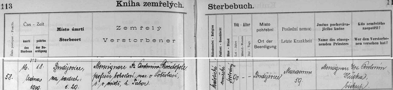 Jeho úmrtí v záznamu českobudějovické Knihy zemřelých