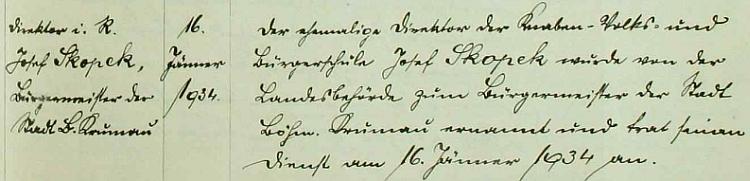Záznam školní kroniky o jeho jmenování českokrumlovským starostou