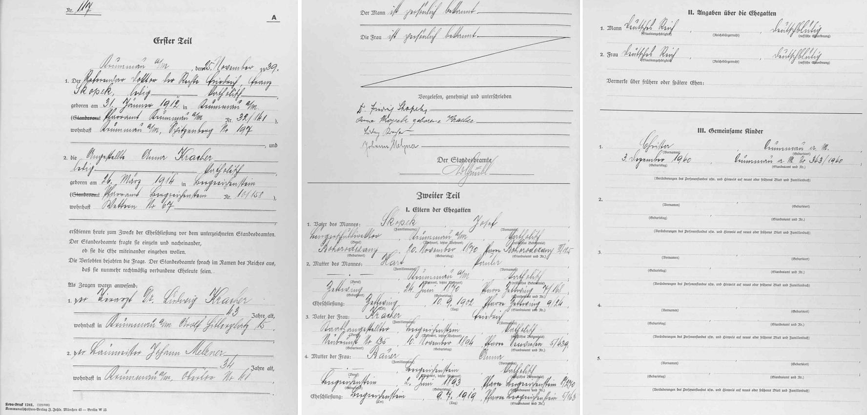 """Na trojstránkovém zápisu stavovské matriky v """"Krummau an der Moldau"""" o synově zdejší svatbě nacházíme i podrobné údaje o něm samém"""