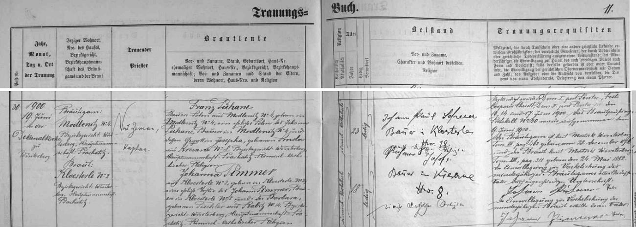 Záznam vimperské oddací matriky o svatbě jejích rodičů: ženich Franz Puhane byl synem Johanna Puhaneho zModlenic čp, 4 a jeho ženy Josephy, roz. Smolové z Křesanova čp. 8, nevěsta Johanna byla pak dcerou Johanna Pimmera, sedláka v Klášterci čp. 2, který na znamení souhlasu s dceřinou svatbou připojil k matričnímu záznamu isvůj podpis, a jeho choti Barbary, roz. Tischlerové z Hrabic čp. 14