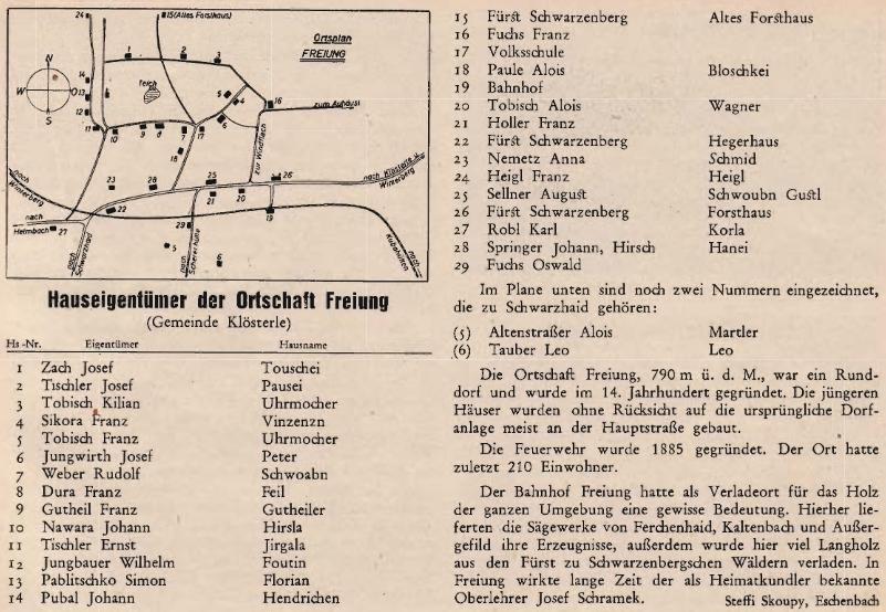 Plánek vsi Lipka (Freiung), která byla kdysi osadou obce Klášterec, jak vyšel se jmény majitelů jednotlivých stavení v roce 1954 pod jejím jménem na stránkách krajänského časopisu
