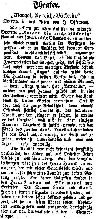 """Recenze jediného uvedení Offenbachovy opery buffo """"Pekařka má tolary"""" v českých zemích, kde Skriwanek rovněž exceloval"""