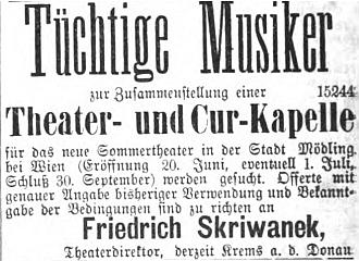 """Tady hledá roku 1876 zdatné hudebníky pro divadelní alázeňskou kapelu letního divadla v Mödingu na poslední straně vídeňského listu """"Fremden-Blatt"""""""