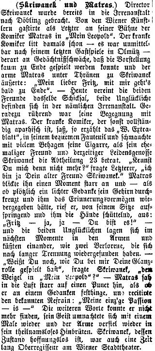 Srovnání jeho konce s osudem proslulého komika Matrase (1832-1887) na stránkách olomouckého německého listu