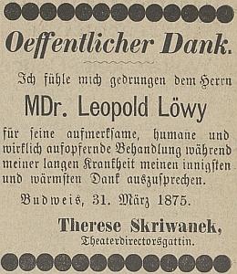 Takto vyšlo její poděkování MUDr. Löwymu v Budweiser Kreisblatt