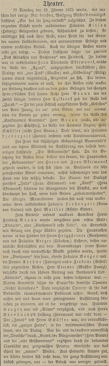 Článek v českobudějovickém německém listu z ledna roku 1875 zmiňuje její i manželovy role