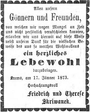 """Friedrich a Therese Skriwanekovi se mezi inzeráty deníku """"Kremser Wochenblatt"""" loučí v lednu roku 1873 se zdejším, tj, křemežským publikem, příznivci a přáteli"""