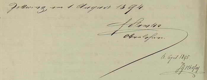 Jeho podpis v cetvinské školní kronice