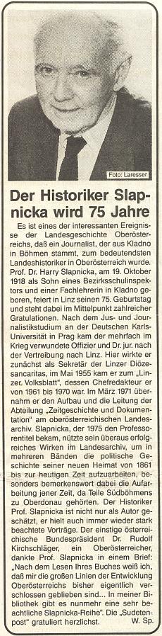 Pozdrav k jeho pětasedmdesátinám v listu rakouského krajanského sdružení