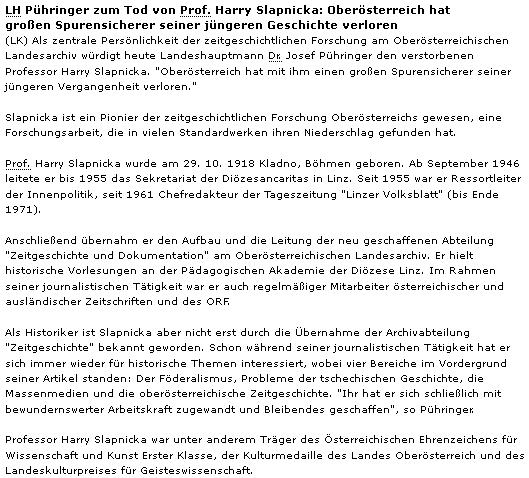 Vyjádření zemského hejtmana Pühringera ke Slapnickovu skonu