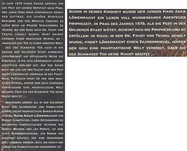 Obálka (1997) nového německého vydání v nakladatelství Weitbrecht jeho románu o Praze, jehož děj ale zasahuje i do Budějovic, Nových Hradů a Krumlova