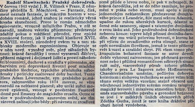 Recenze českého překladu jeho románu na stránkách protektorátního tisku