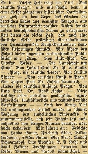 """Referát českobudějovického německého listu o obsahu 5. čísla VIII. ročníku časopisu """"Deutsche Arbeit"""" jasně svědčí o tom, že se tu Slawitschek ocitá mezi převážně židovskými pražskými autory, kteří zaplnili literární část revue, věnované tímto svým číslem """"německé Praze"""""""