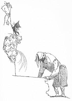 Anastázius Kočkorád a českobudějovická Samsonova kašna na kresbě Jiřího Trnky z tohoto vydání...