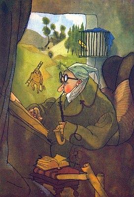 ... a týž hrdina v Prachaticích se zelenou Šumavou za okny na barevné Trnkově ilustraci z téže knihy
