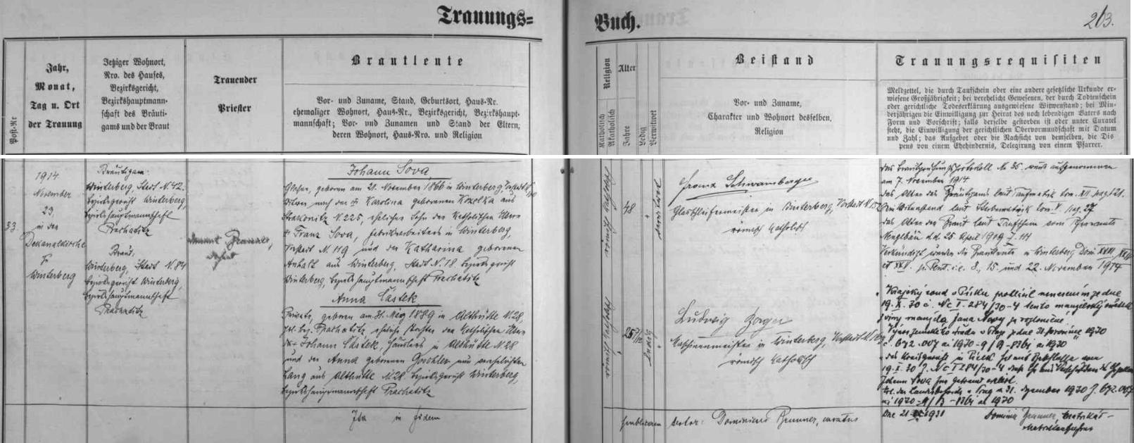 Záznam o druhé svatbě jejího dědečka Johanna Sowy s Annou Částkovou ze Starých Hutí (část dnešních Nových Hutí) čp. 28
