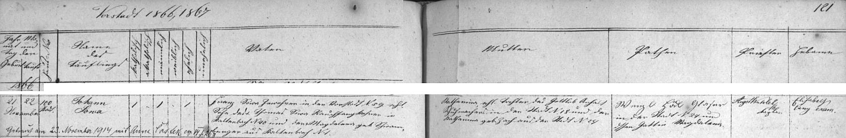 Záznam vimperské křestní matriky o narození jejího dědečka Johanna Sowy s pozdějším přípisem o jeho druhé svatbě s Annou Částkovou poté, co ovdověl skonem své první ženy Karoliny Kozelkové