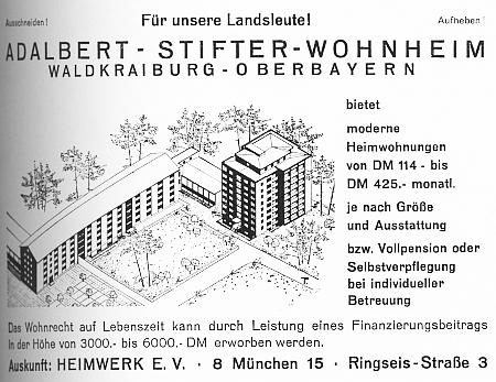 """Nabídka """"moderního bydlení"""" ve Waldkraiburgu na stránkách krajanského časopisu i s výší měsičního nájmu"""