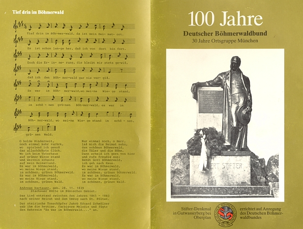 Obálka (1984) jubilejní publikace sdružení Deutscher Böhmerwaldbund a jeho mnichovské místní skupiny     s textem a notovým záznamem Hartauerovy šumavské hymny