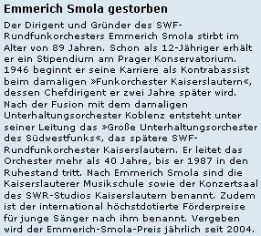 Zpráva o jeho úmrtí na webových stránkách asociace německých regionálních vysílatelů