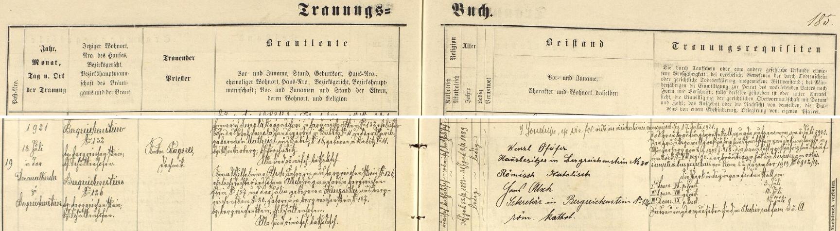 Záznam kašperskohorské matriky o svatbě jeho rodičů