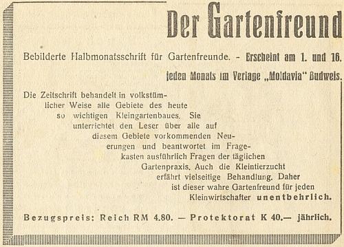"""Inzerát na """"jeho"""" časopis v budějovickém kalendáři nakladatelství """"Moldavia"""" na rok 1943"""