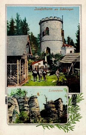 Rozhledna na Kleti a Leiterstein opodál na staré kolorované pohlednici Josefa Seidela