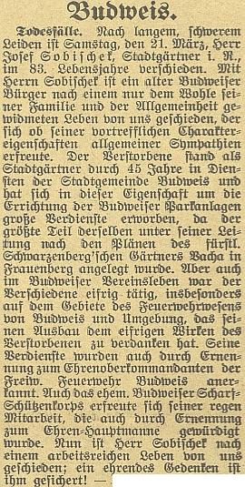 Zpráva o úmrtí jeho otce v Budweiser Zeitung...