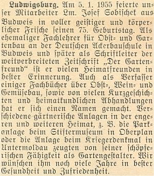 Přání k jeho pětasedmdesátinám na stránkách krajanského měsíčníku v lednu roku 1955