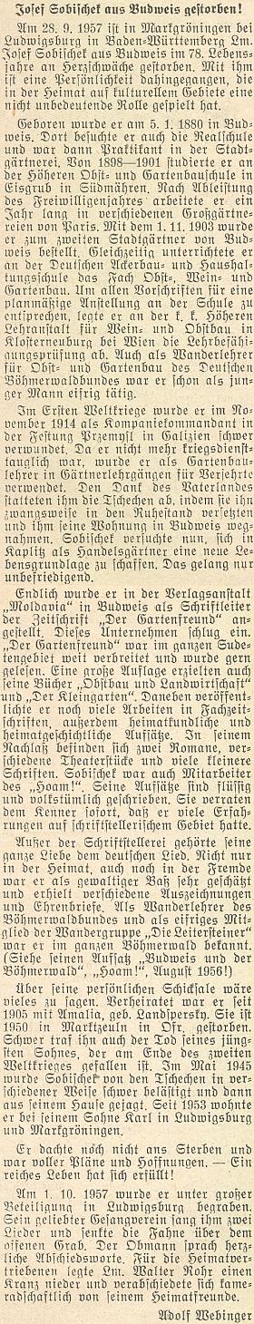Jeho nekrolog napsal v roce 1957 do krajanského měsíčníku Adolf Webinger
