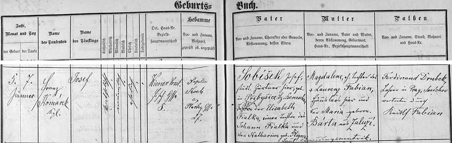 Záznam v českobudějovické matrice, kde je po otci psán ještě Sobíšek a i babička z matčiny strany byla Bártová ze Zaluží